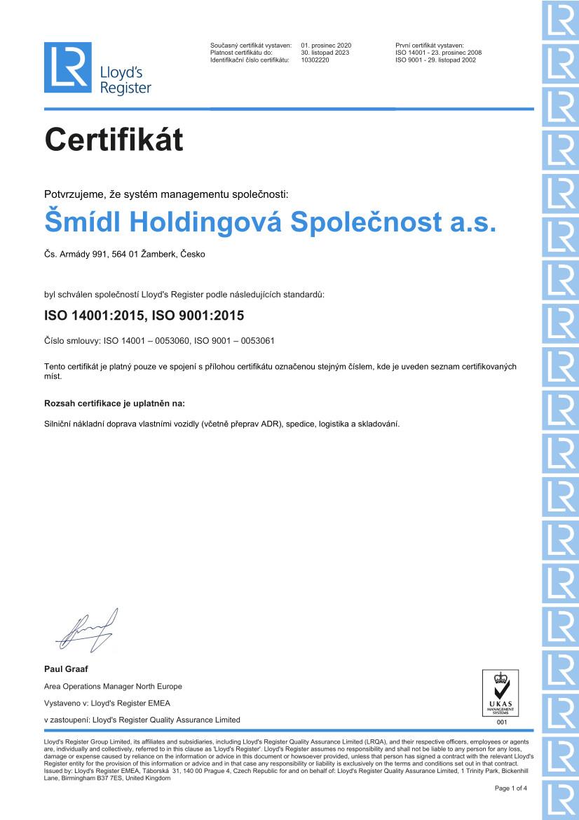 Certifikát ISO do 2023 pro ŠHS a.s. - čj