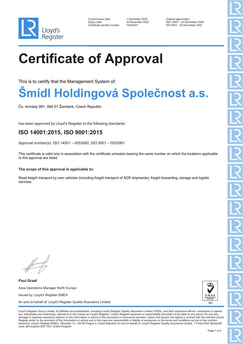 Certifikát ISO do 2023 pro ŠHS a.s. - aj